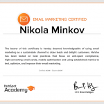 Email Marketing Certified Nikola Minkov 2017 - HubSpot Academy