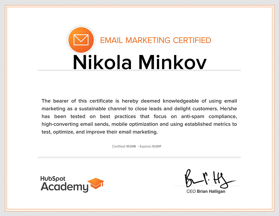 Email Marketing Certified Nikola Minkov 2017 - HubSpot Academy