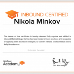 Inbound Certified Nikola Minkov 2017 - HubSpot Academy