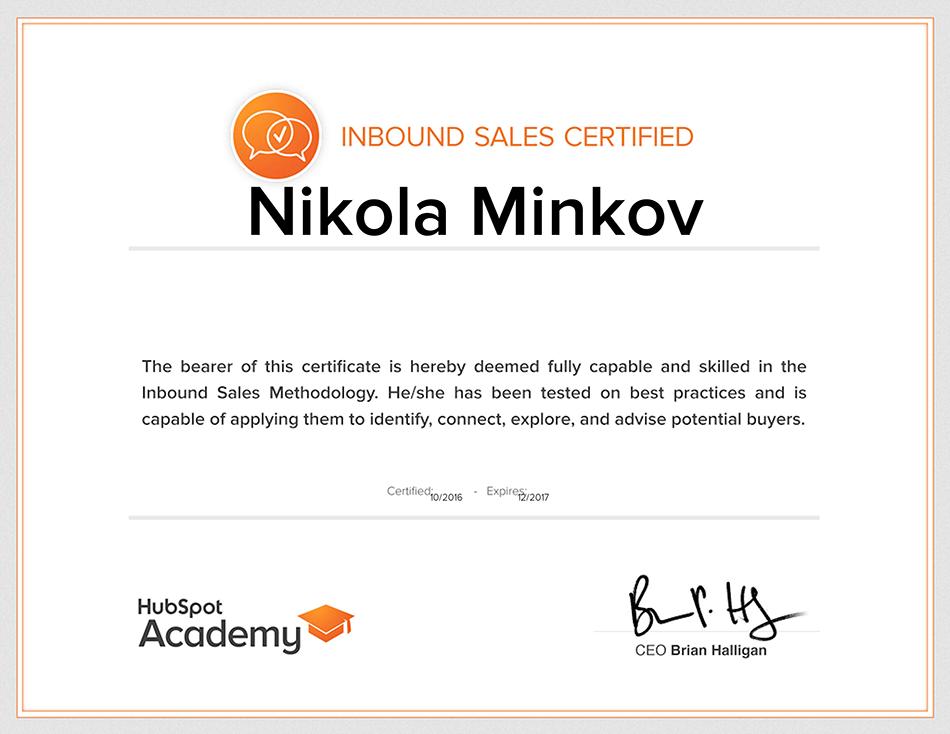 Inbound Sales Certified Nikola Minkov 2017 - HubSpot Academy