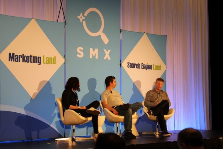 On the photo Mariya Moeva and Gary Illyes during AMA at SMX West, San Jose, CA, USA