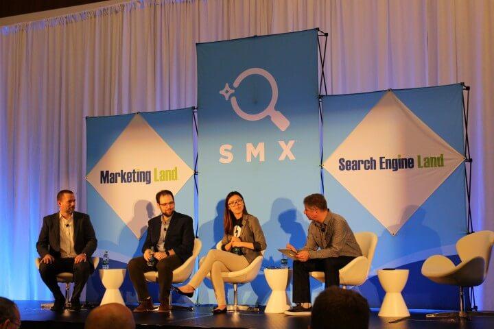 On the photo Ranna Zhou,Jeff Preston,Paul Shapiro on AMP at SMX West, San Jose, CA, USA
