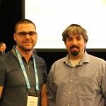 На снимката Barry Schwartz от Rusty Brick и Никола Минков от Serpact след разговор в SMX West