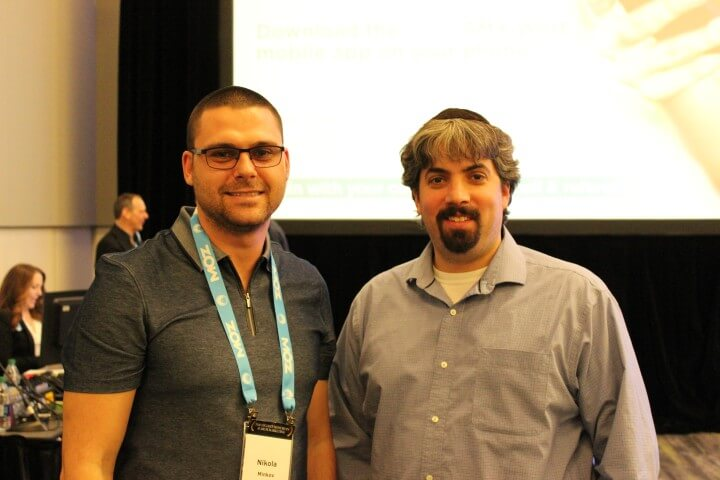 On the photo Barry Schwartz from Rusty Brick and Nikola Minkov from Serpact after a conversation at SMX West