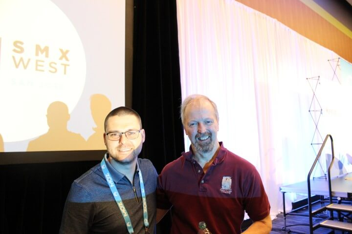 On the photo Eric Enge from Stone Temple and Nikola Minkov from Serpact after a conversation at SMX West