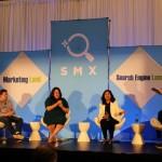 На снимката Benu Aggarwal, Bryson Meunier, Purna Virji дискутират въпроси от публиката за Voice Search