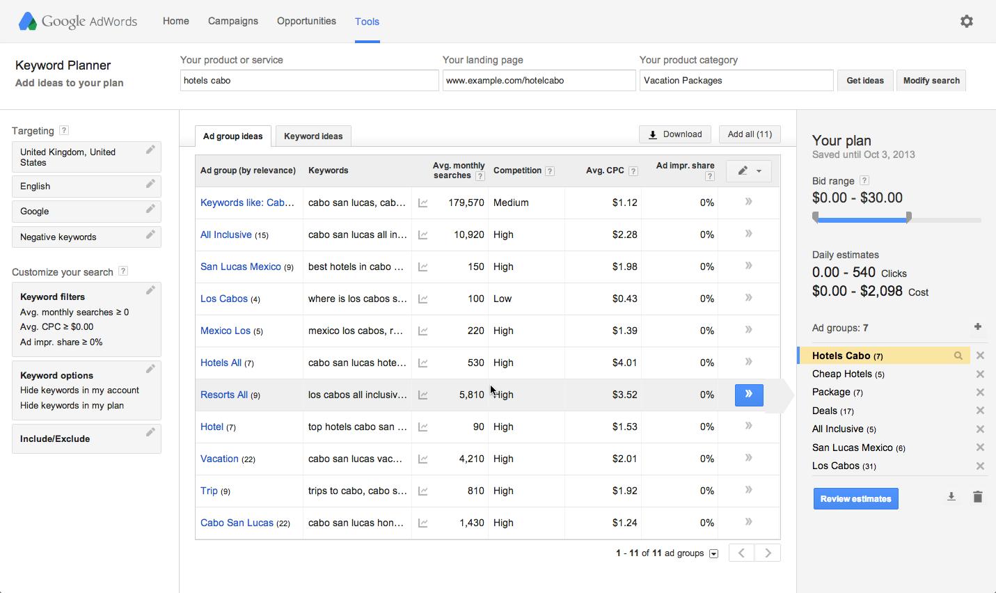 google keyword planner инструмент