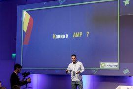 Собственикът на агенция Serpact Никола Минков представя презентацията си на тазгодишния Ecomm congress