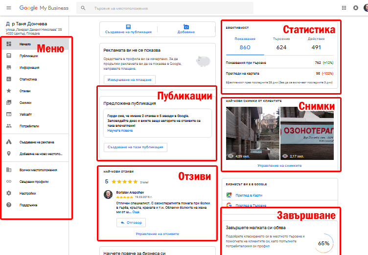 Табло за управление н а бизнес в Google My Business