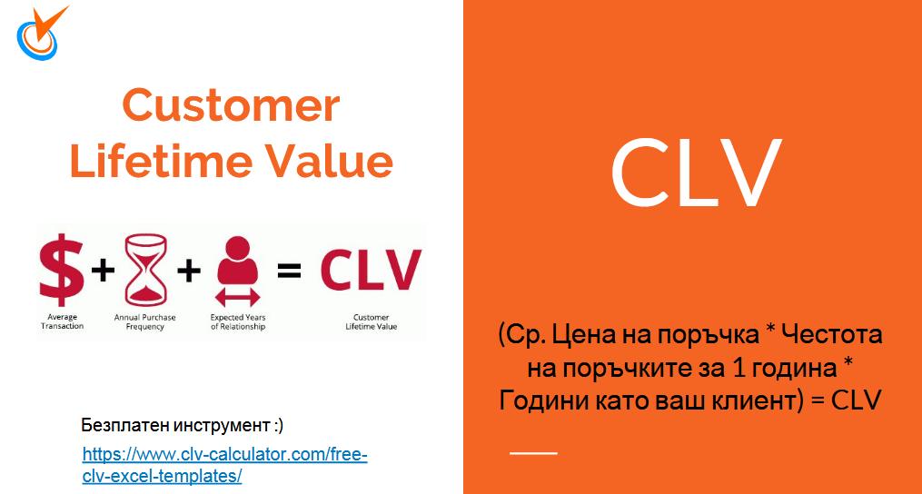 CLV - Customer Lifetime Value - Колко пари ни носи един клиент, докато ни е клиент.