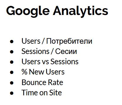 Google Analytics - тук замервайте потребители и сесии.