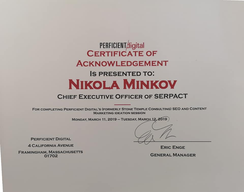 Сертификат на Никола Минков /Serpact/ от Eric Enge /Perficient Digital/.
