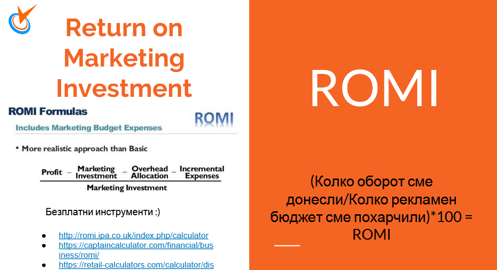 ROMI /Return on marketing investment/ -