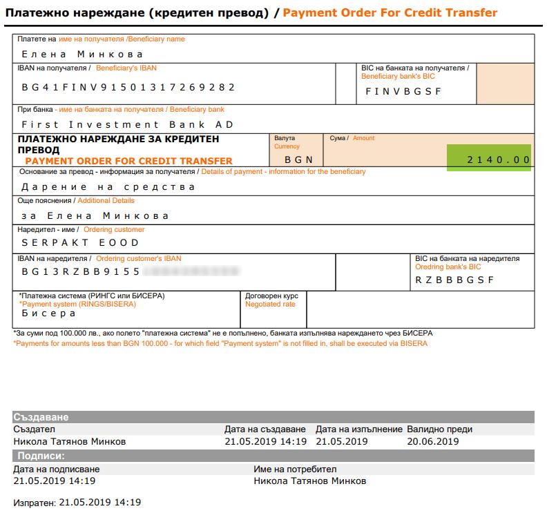 Всички средства, събрани от прадажбата на билети бяха дарети за лечението на малката Елена от Свиленград .