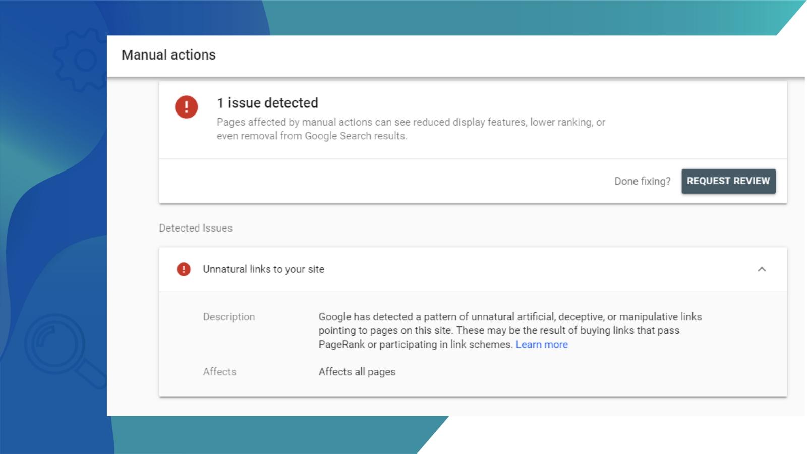 Google Manual Actions