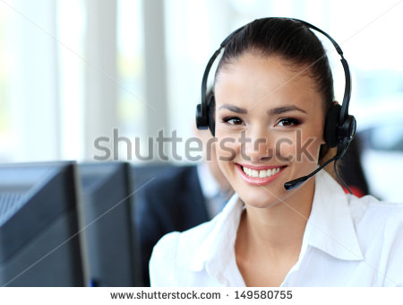 Stock Photo Female Customer Support Operator With Headset And Smiling 149580755