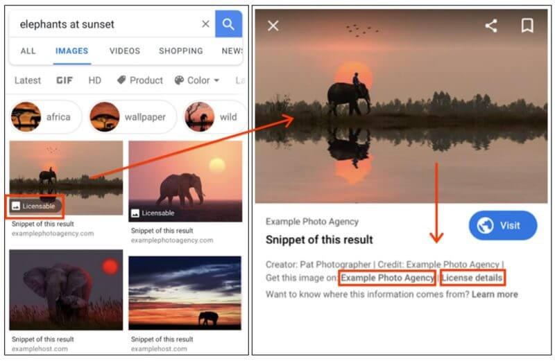 Google Images Image License Label